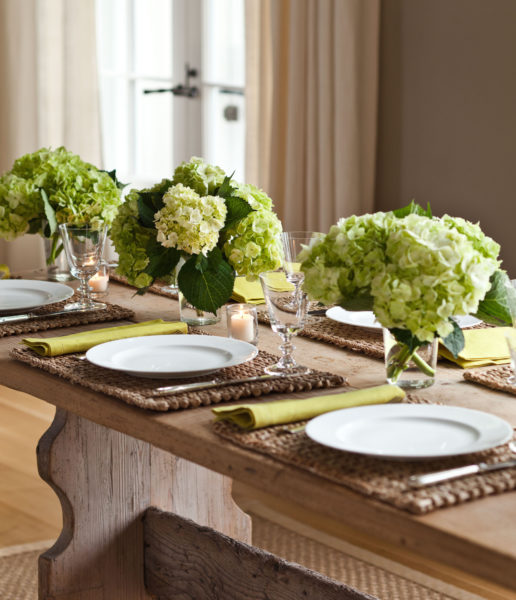 When I have a holiday party instead of putting the food directly on the table I like to set up a buffet nearby and let everyone help themselves. & Holiday Table Setting   Barefoot Contessa