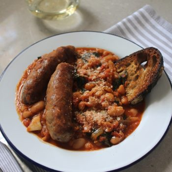 Sweet Italian Sausages with Braised White Beans and Kale