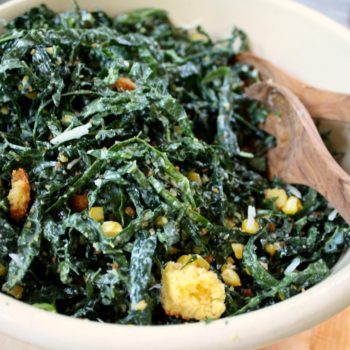 Kale Caesar with Roasted Corn and Cornbread Croutons