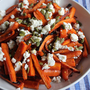 Hot Honey Roasted Carrots with Goat Cheese