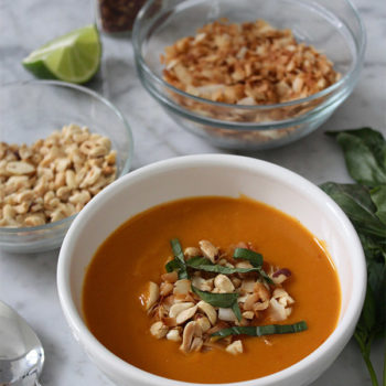 Sweet Potato Soup with Thai Curry & Coconut