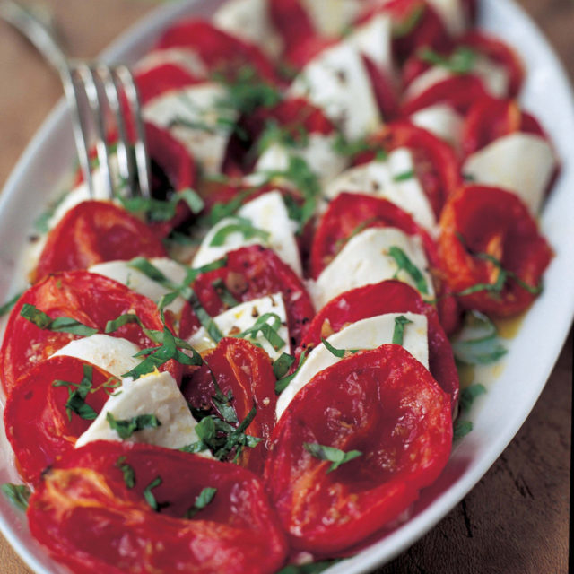 Roasted Tomatoes Ina Garten roasted tomato caprese salad | recipes | barefoot contessa