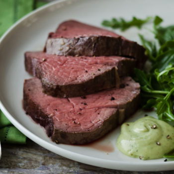 Slow-Roasted Filet of Beef with Basil Parmesan Mayonnaise